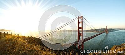 Panorama of Golden Gate Bridge, San Francisco at Dawn