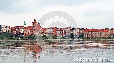 Panorama of Grudziadz at Wisla river