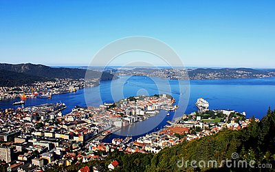 Panorama of gulf, City of Bergen, Norway