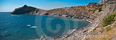 Panorama of gulf coastline in crimea