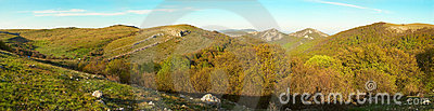 Panorama. Hills with cloudscape