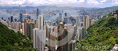 Panorama of Hongkong Victoria harbor and city Editorial Photo