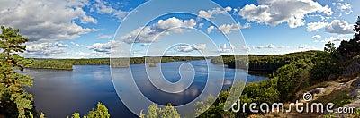 Panorama of idyllic lake in Sweden