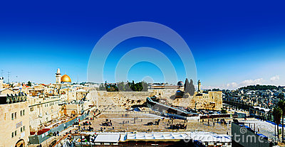 Panorama of Jerusalem, Israel with the Western Wall Editorial Photography