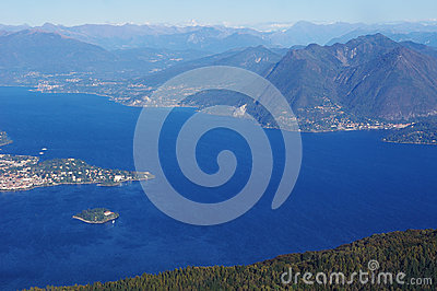 Panorama of Lake Maggiore and Isola Madre Island , Italy