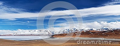 Panorama of Lake Manasarovar and Gurla Mandhata Peak, Tibet