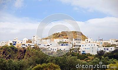 Panorama landscape Plaka Milos Greek Island