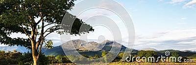 Panorama landscape Snowdonia mountain range