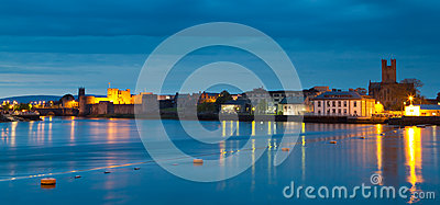 Panorama of Limerick city at dusk