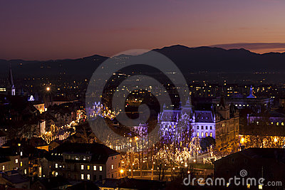 Panorama of Ljubljana at dusk.