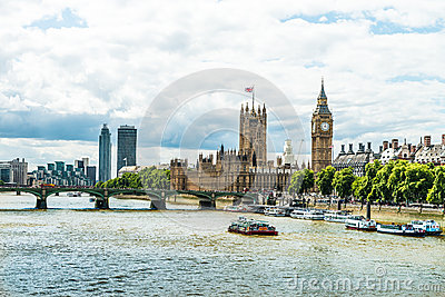 Panorama of London - Parliament and Big Ben Editorial Photography