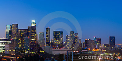 Panorama of  Los Angeles Skyline Before Dawn