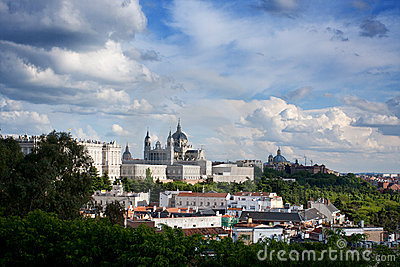 Panorama of Madrid (Spain) with the Royal Palace
