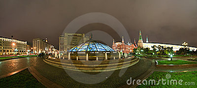 Panorama Manege Square at night, Moscow