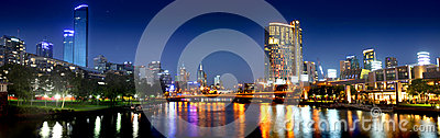 Panorama of Melbourne city at night Editorial Stock Image