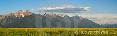 Panorama of the Mission Mountains, Montana, USA