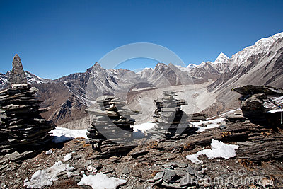 Panorama of mountain in Everest region, Nepal
