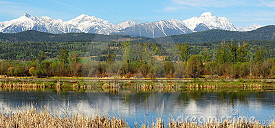 Panorama mountains and river