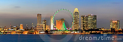 Panorama Of Night View Of Singapore City
