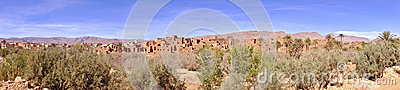 Panorama from an oasis in the mountains in Morocco