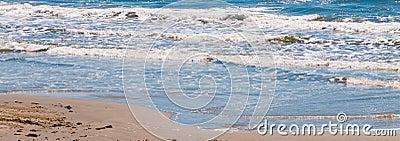 Panorama Ocean Waves and Sandy Beach