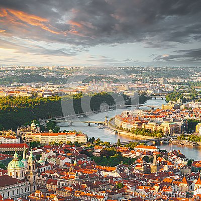 Free Panorama Of The Old Prague From The Petrin Tower, Czech Republic. Stock Photo - 107077790