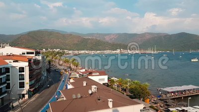 Panorama of the old city. Top view of the roofs of the resort town of Marmaris, Turkey. Beautiful view from above on of. The city. Aerial view of the Marmaris stock video footage