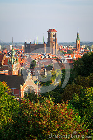 Panorama of old town in Gdansk