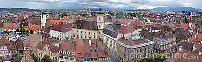 Panorama of old town Sibiu in Transylvania Romania