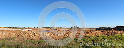Panorama of open cut mineral sands mining at Dardanup Western Australia.