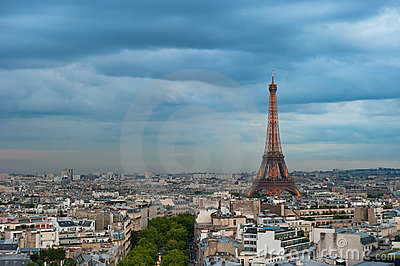 Panorama of Paris at dusk Editorial Image