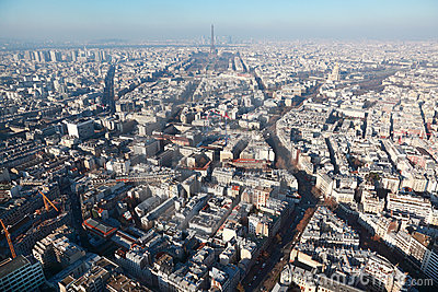 Panorama of Paris with eiffel tower at winter