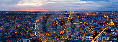 Panorama of Paris from the Montparnasse Tower. Editorial Stock Photo