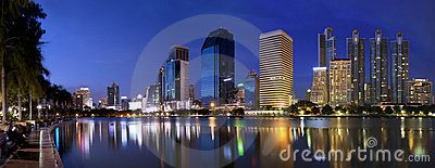 Panorama Park Bangkok city at night Editorial Image