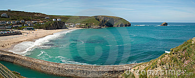 Panorama of Portreath beach and pier, Cornwall UK.