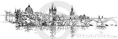 Panorama of Prague. View of Charles Bridge