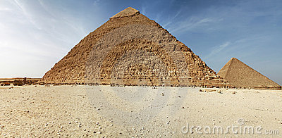 Panorama of pyramids in Giza