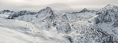 Panorama of Pyrenees mountains