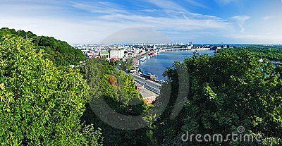 Panorama of the right bank of the Dnieper in Kiev