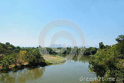 Panorama of the river Kwai in Thailand