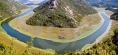 Panorama of river in Montenegro.