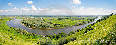 Panorama of the river and water meadows.
