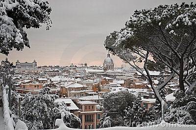 Panorama of Rome under snow Editorial Image