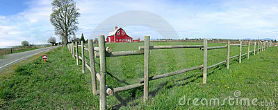 Panorama Rustic Barn and Fence