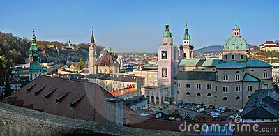 Panorama of Salzburg churches