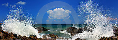 Panorama of the sea storm