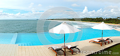 The panorama of the sea view swimming pool
