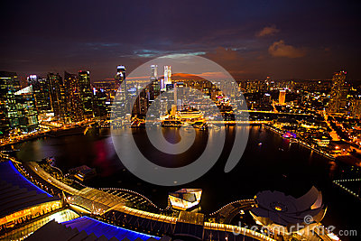 Panorama of Singapore in the night time