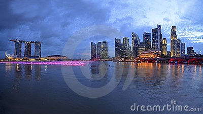 Panorama of Singapore river and skyline