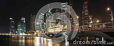 Panorama Of Singapore Skyline At Night